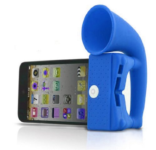 Horn Stand Speaker Loudspeaker Amplifier Silicone For Apple Iphone 4 4G Blue