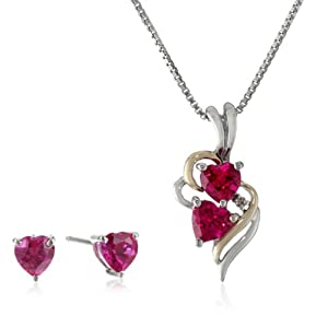 "XPY Sterling Silver and 14k Yellow Gold Created Ruby Heart with Diamond-Accent Pendant Necklace and Earrings Set, 18"" by Amazon Curated Collection"