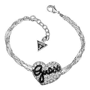 Guess Damen-Armband Silberfarben Rhodiniert Herzelement mit Schwarzem Emaille und Weißen Schmucksteinchen UBB81101