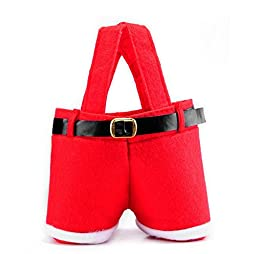 Bestwishes2u 6 Pcs Christmas Candy Bag Wine Holders Santa Pants Gift and Treat Bags with Handle Portable Candy Gift Baskets for Wedding