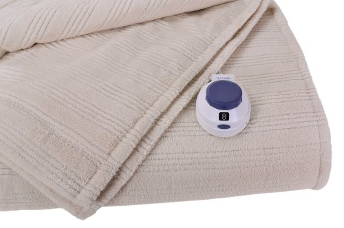 Soft Heat Ultra Micro-Plush Low-Voltage Electric Heated Triple Rib Throw, Natural