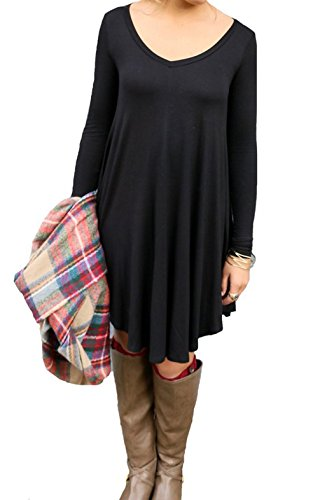 IGENJUN Women's Long Sleeve V-Neck Casual Loose T-Shirt Dress,M,Black