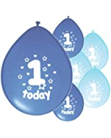 10 x 1ST BIRTHDAY BOY/ AGE 1 BOY BLUE AND BABY BLUE MIX PACK BIRTHDAY BALLOONS (PA)
