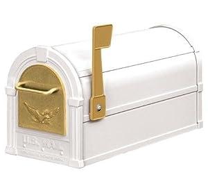 Eagle Rural Mailbox Color: White / Gold