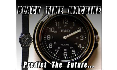 The Black Time Machine - Wrist Watch with Black Leather Band - Astonishing Magic Trick
