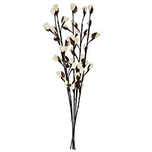 Decorative Brown Twig Branch Lights with White Rose Flowers
