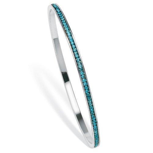 Birthstone Silvertone Metal Stackable Eternity Bangle Bracelet - December- Simulated Blue Topaz