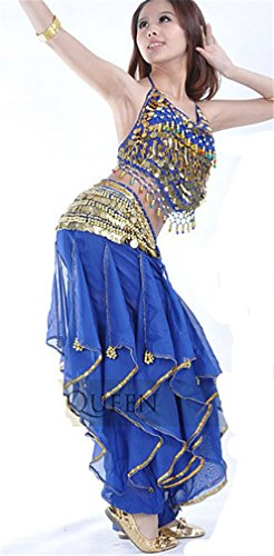 Dreamspell Professional Dark Blue Belly Dance Tops/Waist Chain/Pants(3items)