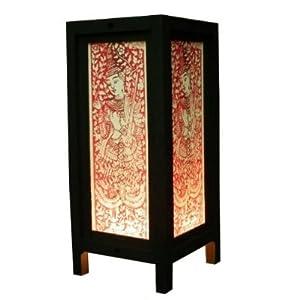 Thai Asian Vintage Handmade Lanna Wood Paper Lamp Lighting Satyr Buddha Oriental Design Home