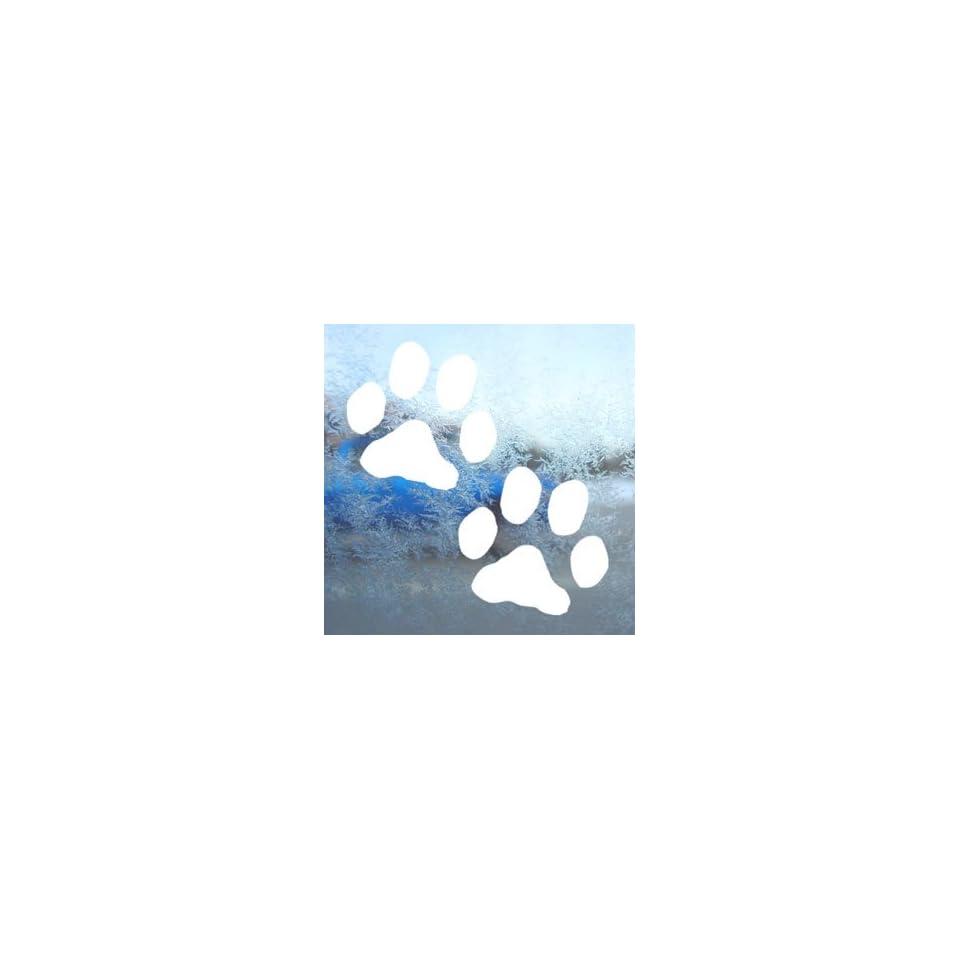 Dog Paw Prints White Decal Car Laptop Window Vinyl White Sticker