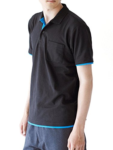 (Teeshatsdotes City) The design seems to be wearing a tshirt.St short sleeve polo shirt (with Pocket) black / turquoise LL