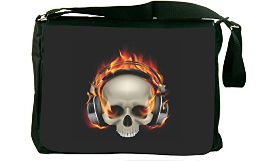 Rikki Knighttm Skull On Fire Headphones Design Messenger Bag - Shoulder Bag - School Bag For School Or Work