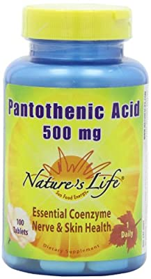 Nature's Life Pantothenic Acid Tablets, 500 Mg, 100 Count