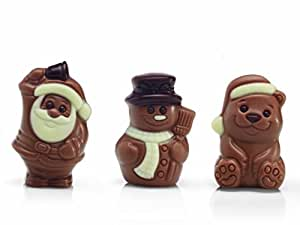 Belfine Chocolate Christmas Bear/ Snowman/ Santa in Acetate Gift boxes (Assorted) 50 g (Pack of 3)