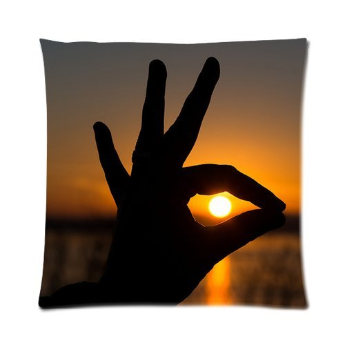 Generic Custom Sunset Peacock Shaped Fingers Cool Design Printed Zippered Pillowcase Cushion Case 16*16(Two Sides) front-1012030