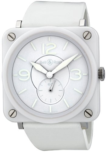 Bell and Ross Aviation White Phantom White Rubber Unisex Watch BRSWHCPHSRB