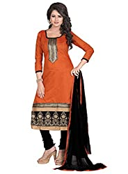 Manthan Orange Embroidered Un-Stitched Suit MNTNEWFM101