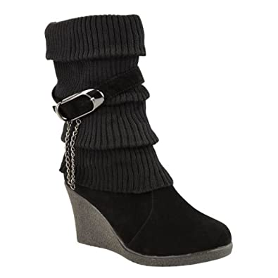 LADIES WOMENS MID HIGH WEDGE HEEL KNITTED WARM WINTER SLOUCH BIKER KNEE CALF ANKLE BOOTS SIZE (UK 3 / EU 36 / US 5, Black)