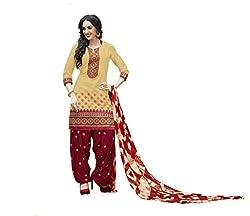 Om Creation beige Embroidered cotton Salwar Suit HS79