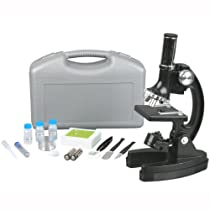 AMSCOPE-KIDS M30-ABS-KT1 Beginner Microscope Kit, LED and Mirror Illumination, 120x - 1200x Magnification, Includes 48-Piece Accessory Set And Case, Black