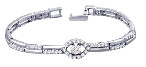 Peora Valentine Sterling Silver Rhodium Plated Bracelet w\/ Elliptical Cubic Zircon & Fold Over Clasp (PB1082)