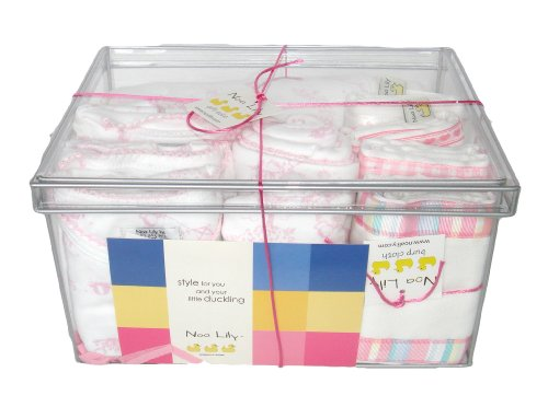 Noa Lily Large Layette Gift Basket, Pink Toile, 6 Months