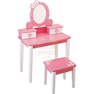 pintoy tocador madera color rosa y blanco hogar. Black Bedroom Furniture Sets. Home Design Ideas