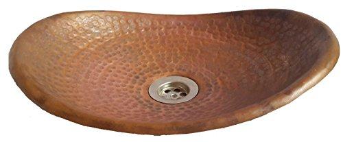 Rustic Bowl Sink : shops Rustic Burnt Fired Canoe Copper Oval Bathroom Vessel Sink Bowl ...
