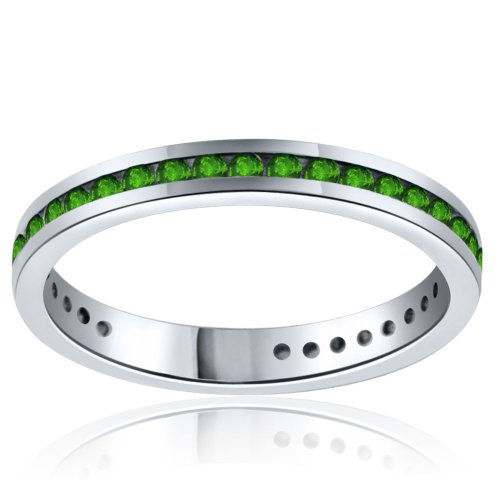 Sterling Silver Simulated Geeen Diamond Band-0.50ct