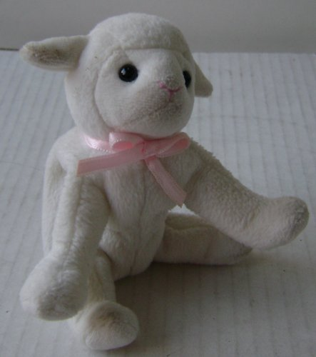 Baby Lamb Plush Toy Stuffed Animal - 4 1/2 inches long x 3 1/2 inches tall