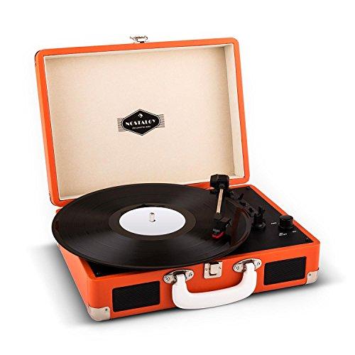 Auna Peggy Sue Giradischi per vinili vintage con valigetta portatile ed altoparlanti integrati (2 casse, USB, 3 misure per i dischi) Rosso