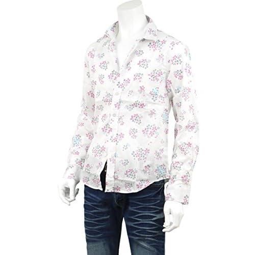 花柄シャツ 花柄 メンズ シャツ 柄 ドレスシャツ 透かしデザイン 大きいサイズ有り 桜 長袖 七分袖 S114015 白Xグリーン(N)[長袖] LL