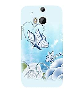 printtech Butterfly Pearls Back Case Cover for HTC One M9::HTC M9::HTC One Hima