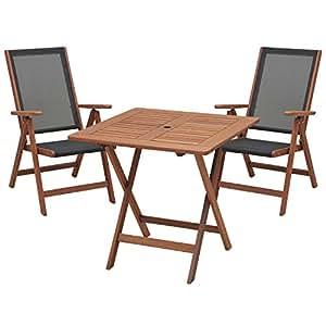 山善(YAMAZEN) ガーデンマスター フォールディング テーブル&チェア(3点セット) MFT-88192&MFC-259(2脚)
