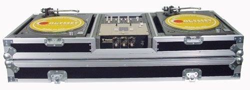 Odyssey Battle Coffin (2)Ttables & (1)10In Mxr A Battle Style 10 Inch DJ Mixer Coffin