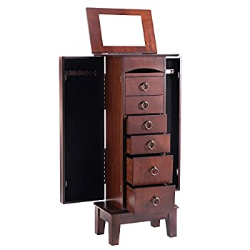 Giantex Wood Jewelry Cabinet Armoire Storage Box Chest Stand Organizer Necklace