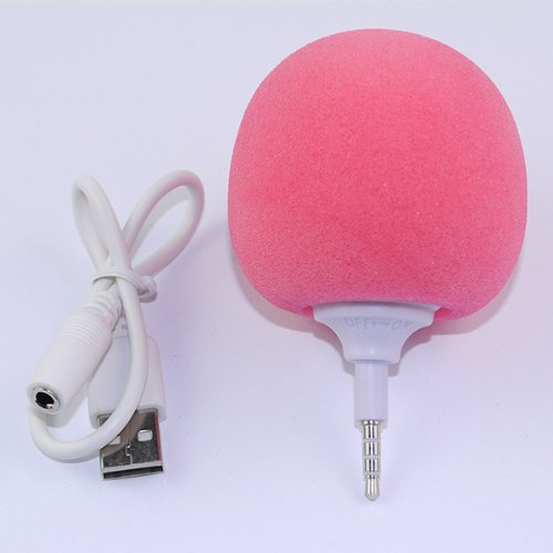 Iclover New Arrival Cute Pink Sponge Balloon Ball Style Portable 3.5Mm Audio Dock Peaker Mini Speaker Player For Iphone Samsung Htc Ipad Mp3 Mp4