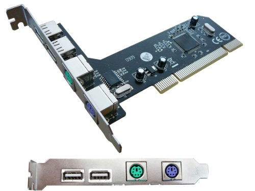 PCI USB + PS2 CONTROLLER CARD – 2 Port USB 2.0 & 2 Port PS/2 – add another keyboard + mouse to your computer !