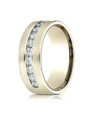 Benchmark 18K Yellow Gold 8mm Comfort-Fit Channel Set 12-Stone Diamond Wedding Band Ring (0.96 ct.)