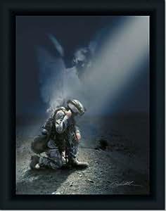 Iraq Soldier Angel Protect God Pray Art Print Framed