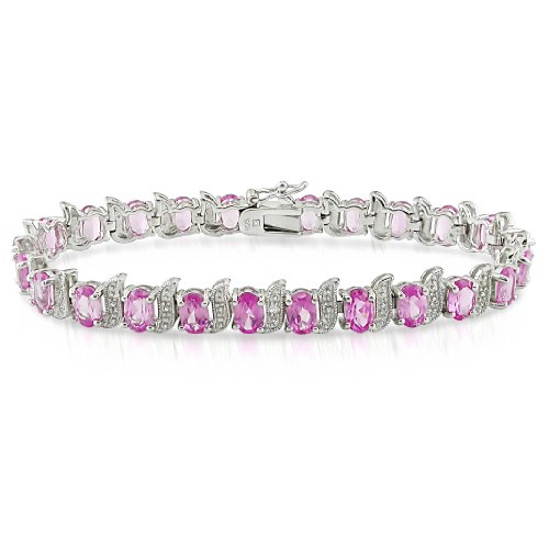 Sterling Silver 18 3/4 TGW Pink Sapphire and 0.03ct TDW Diamond Bracelet (7.25in) (H-I, I2-I3)
