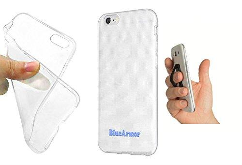 BlueArmor Soft Silicone Cover Case For Panasonic P55 Novo - Transparent + Sling Grip