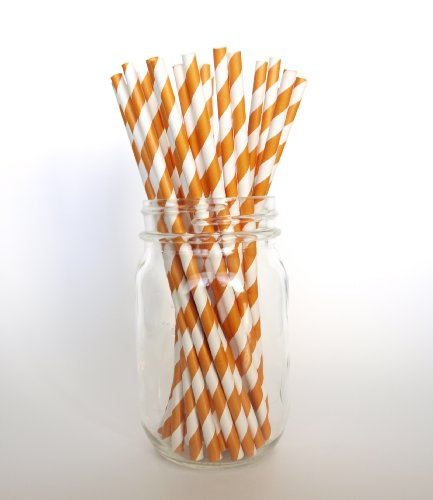 Orange Pinstripe Old Fashioned Straw - 25 Pack - Add Color To A Halloween, Thanksgiving Or Harvest Party front-1019294