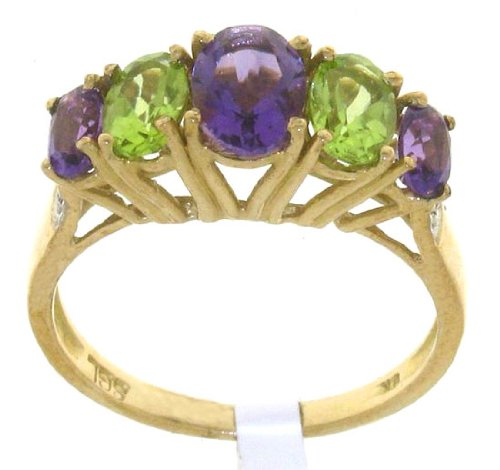 Attractive 9 ct Gold Ladies 5 Stones Diamond Ring Brilliant Cut with Amethyst, Peridot Size J