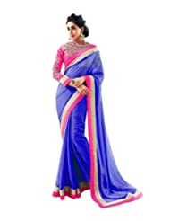 Temptingg Fashions Blue Chiffon With Heavy Work Blouse And Lace Border Saree