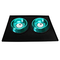 Platinum Pets 1 Cup Embossed Non-Tip Stainless Steel Cat Bowls with Black Feeding Mat, Caribbean Teal