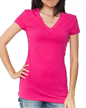 Short Sleeve V-neck Tee Tank Top Shirt Cotton,Small,Fuchsia