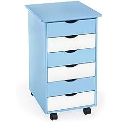 TecTake® Rollcontainer blau/weiß mit 6 Schubladen