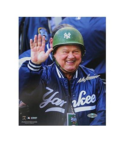Steiner Sports Memorabilia Don Zimmer Signed Wearing Green Yankees Hard Hat Photo, 10 x 8