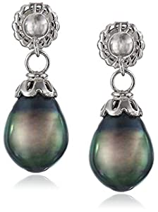 Sterling Silver Tahitian Cultured Pearl Dangle Earrings (8-9mm)